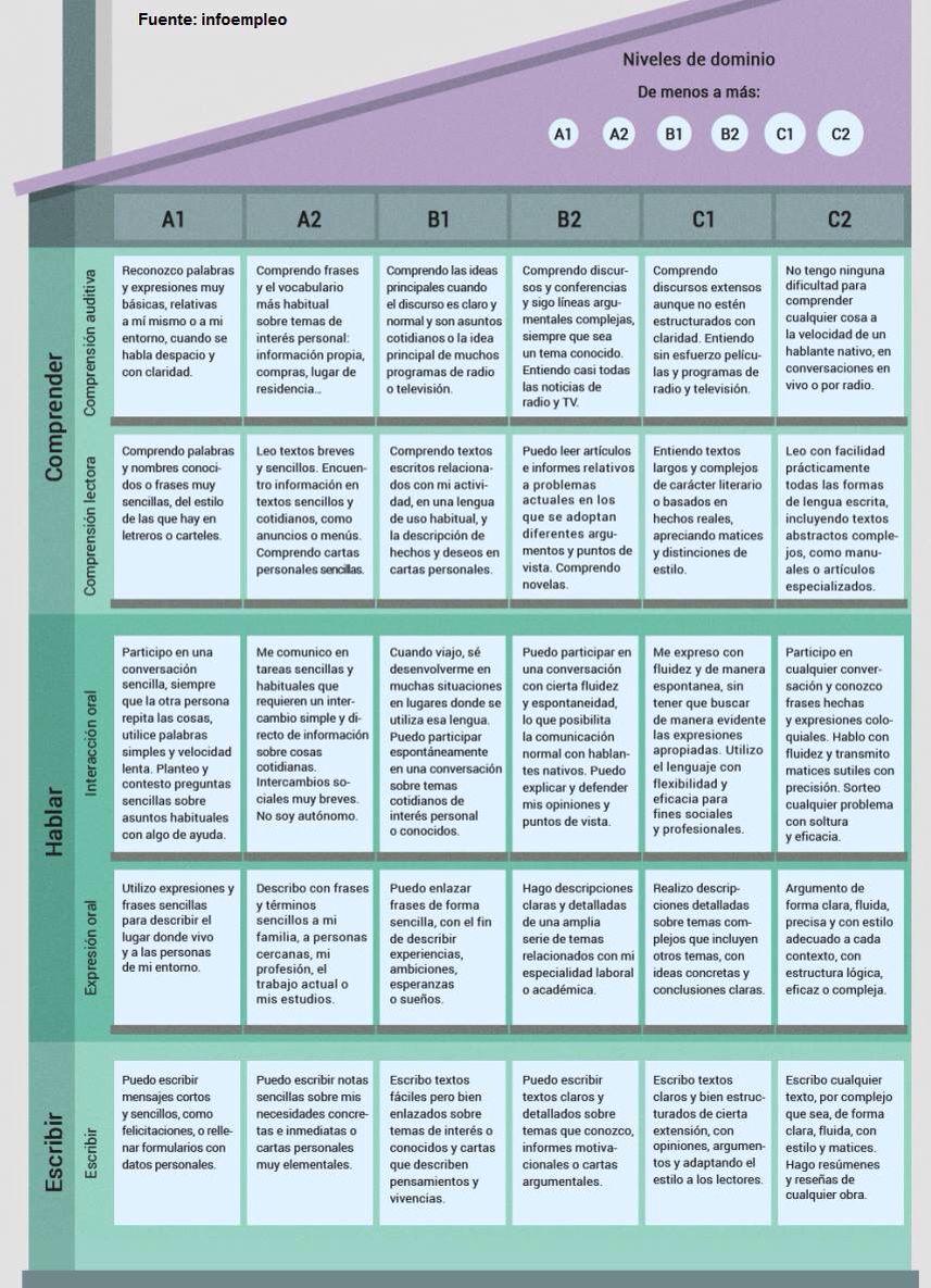 Descripción de las habilidades en los distintos niveles