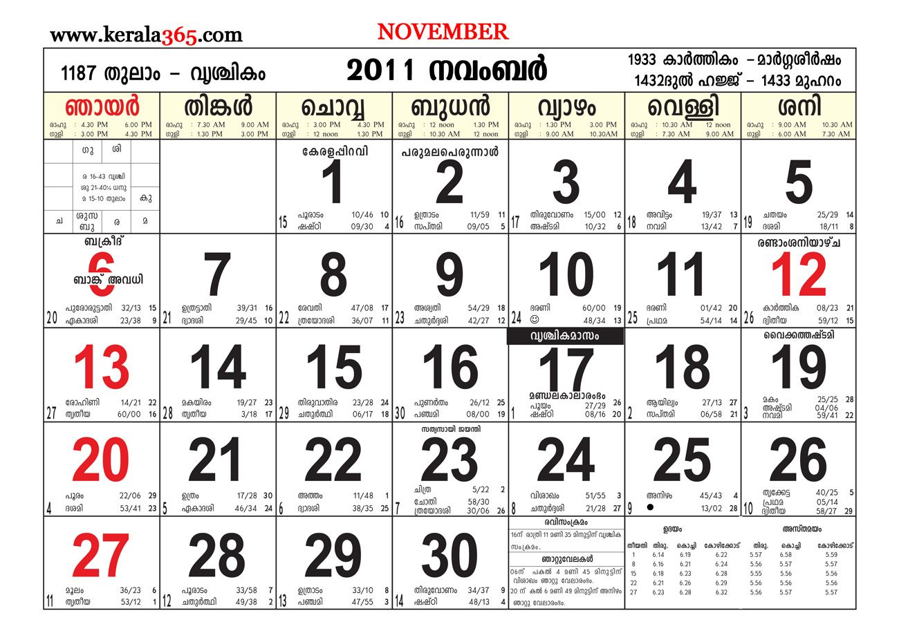 November 2018 Calendar Malayalam Malayalam Calendar Calendar