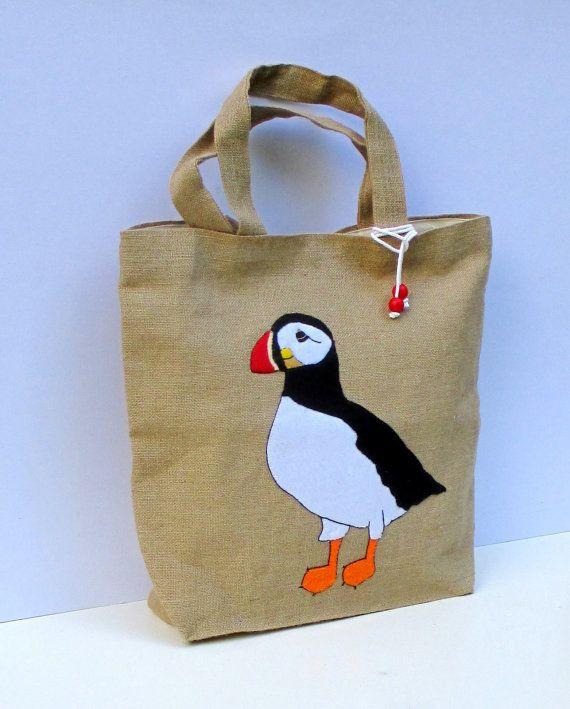 Puffin large beach bag, summer jute tote bag, handmade tote bag ...