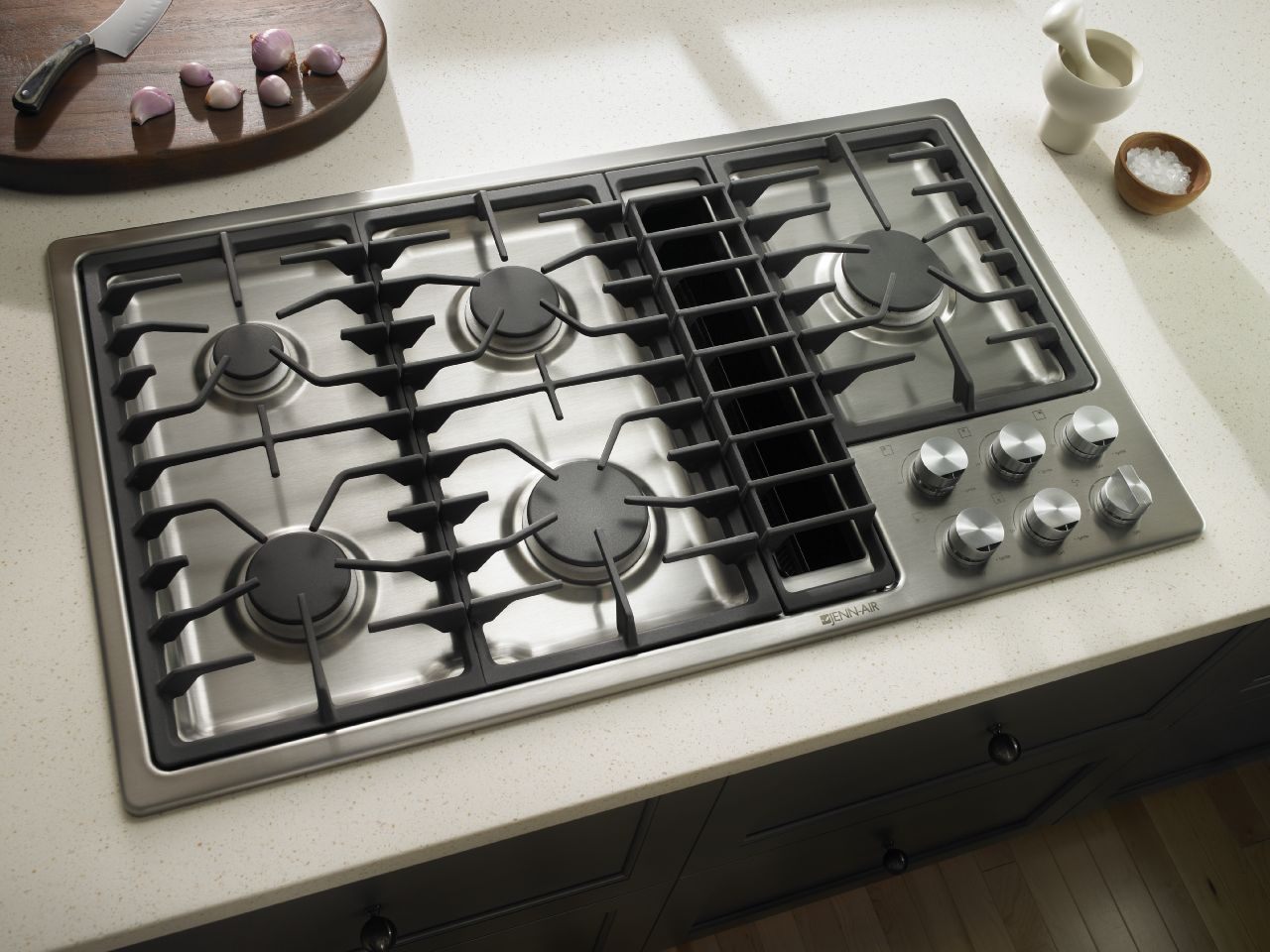 Jenn air kitchen with stainless steel gas cooktop with for Kitchen range with downdraft ventilation