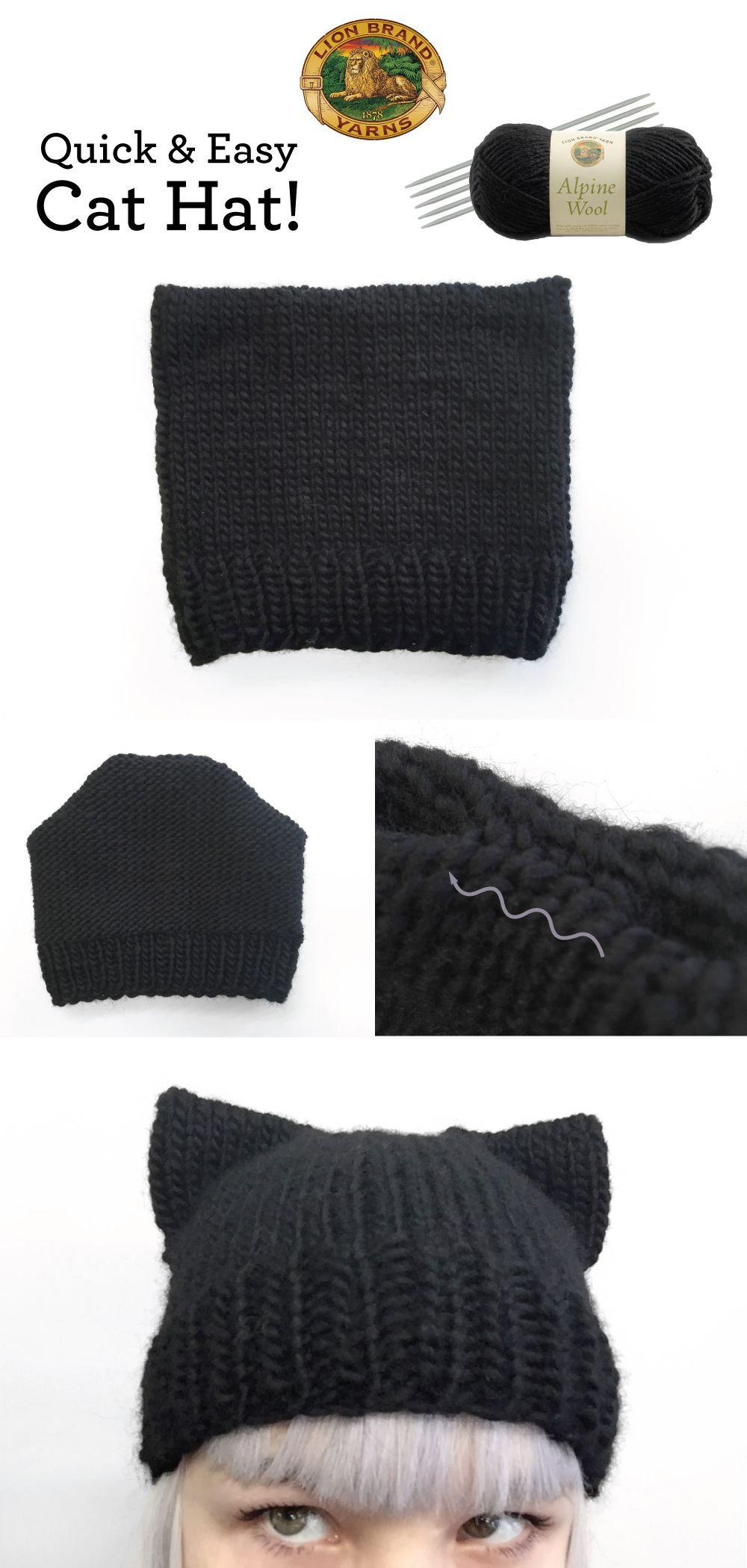 Knit a Quick & Easy Cat Hat! | Lion Brand Notebook