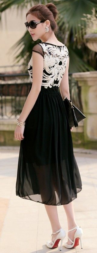Black Midi Chiffon Summer Dress with Embroidered Chest YRB0696