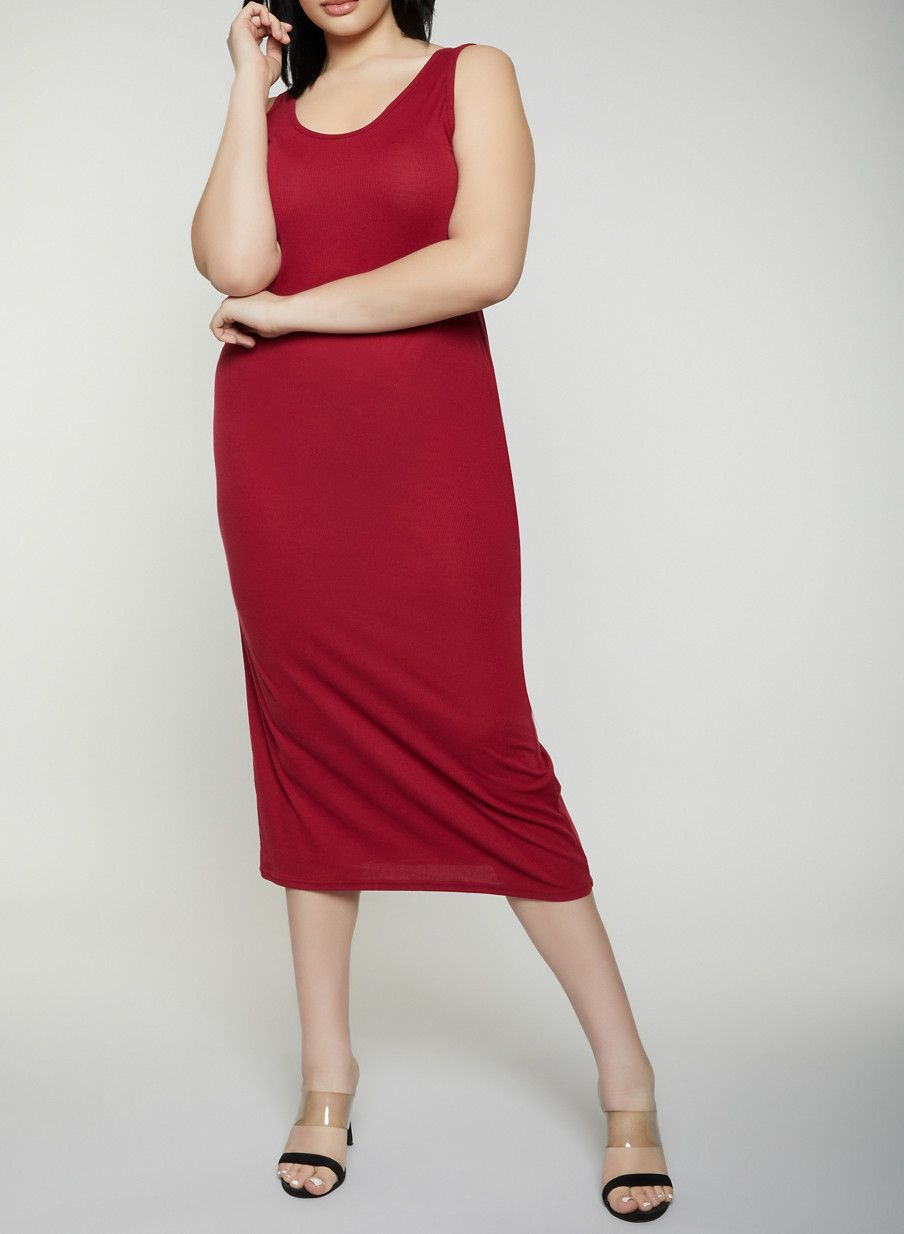 9b769f5c705 Plus Size Basic Ribbed Knit Tank Dress - Burgundy - Size 4X in 2019 ...