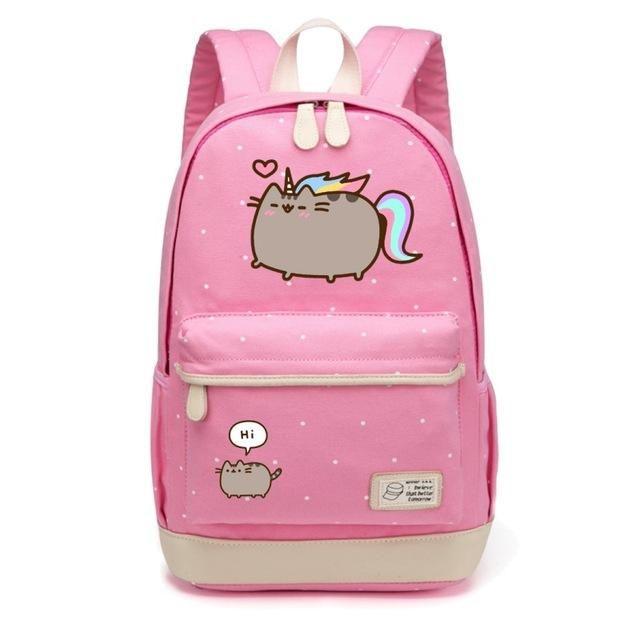 7ddaa910ac WISHOT Pusheen Cat Canvas bag unicorn Flower wave point Rucksacks backpack  for teenagers Girls women School travel Shoulder Bag