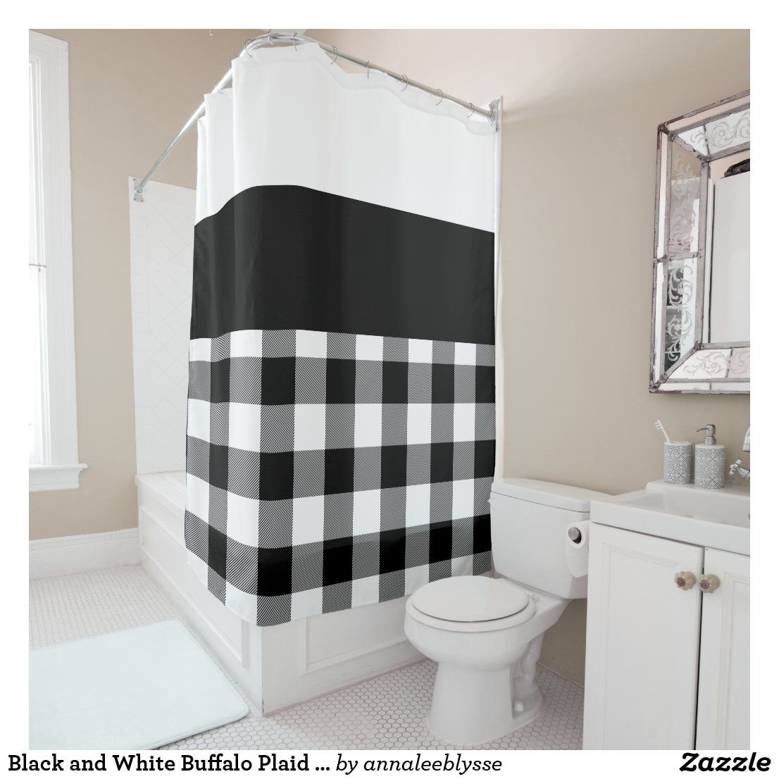 Black and white buffalo plaid color block shower curtain