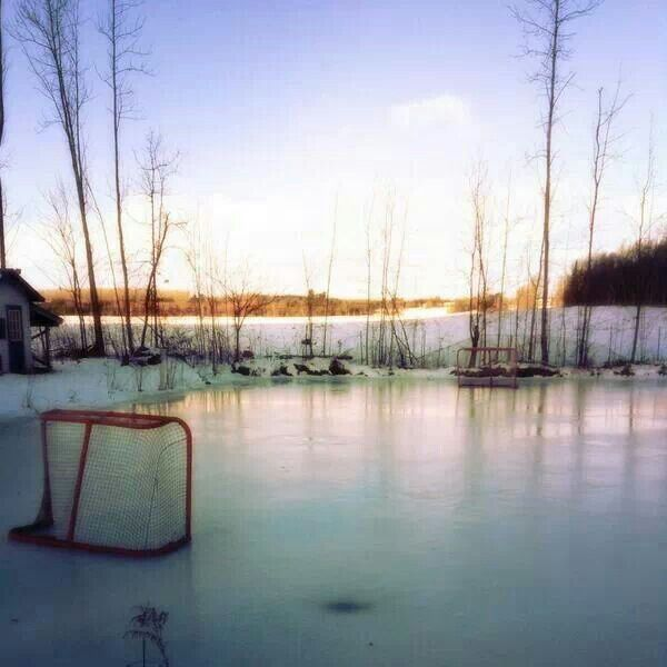 Pond hockey. I always got picked for pond hockey team!!  Bought a house on the same little pond.