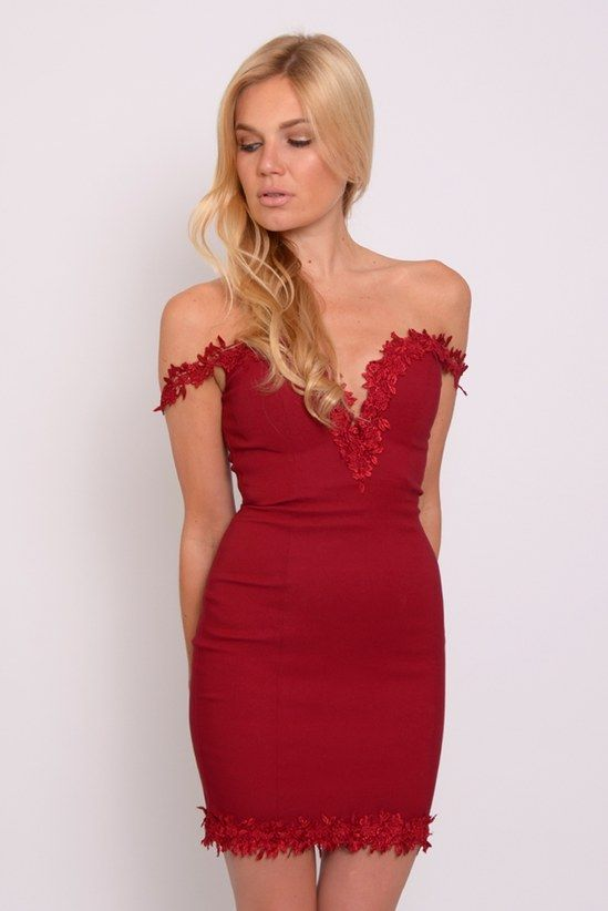57adeccc5fbf Image for Wine Crochet Trim Bardot Dress
