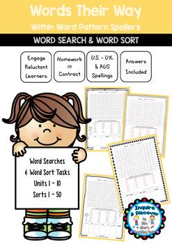 Words Their Way Within Word Pattern Spellers Word Search Sorts 1 50 V2 Word Patterns Word Sorts Word Study
