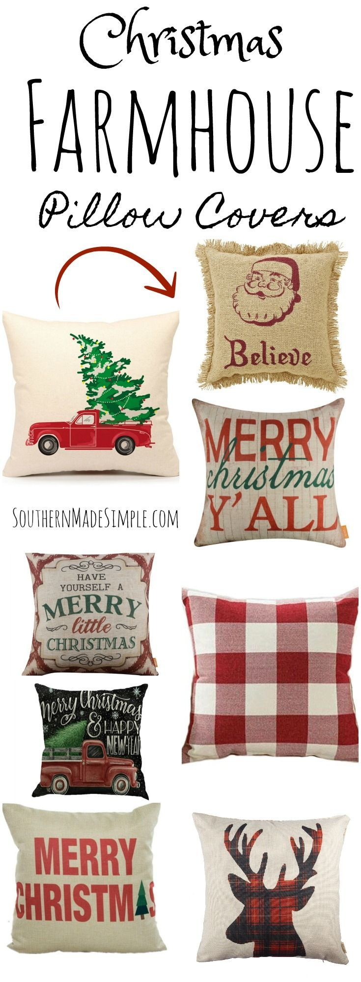 Farmhouse Christmas Throw Pillows on a Budget | Christmas pillow ...