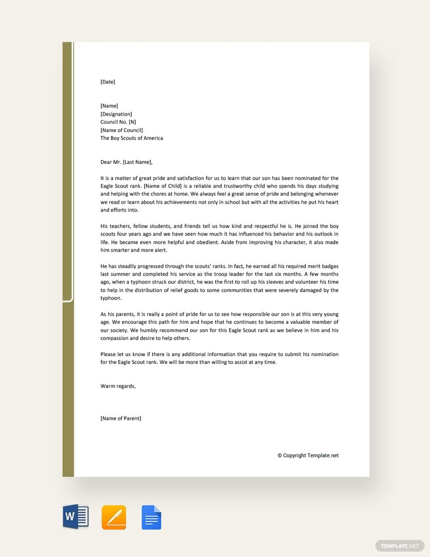 Free Eagle Scout Recommendation Letter From Parent Eagle Scout