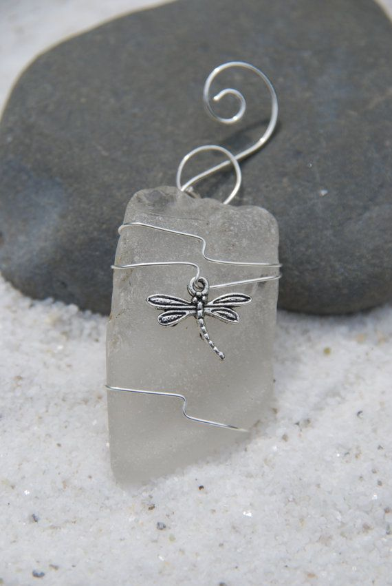 Genuine frosted white sea glass Christmas ornaments with silver dragon fly…