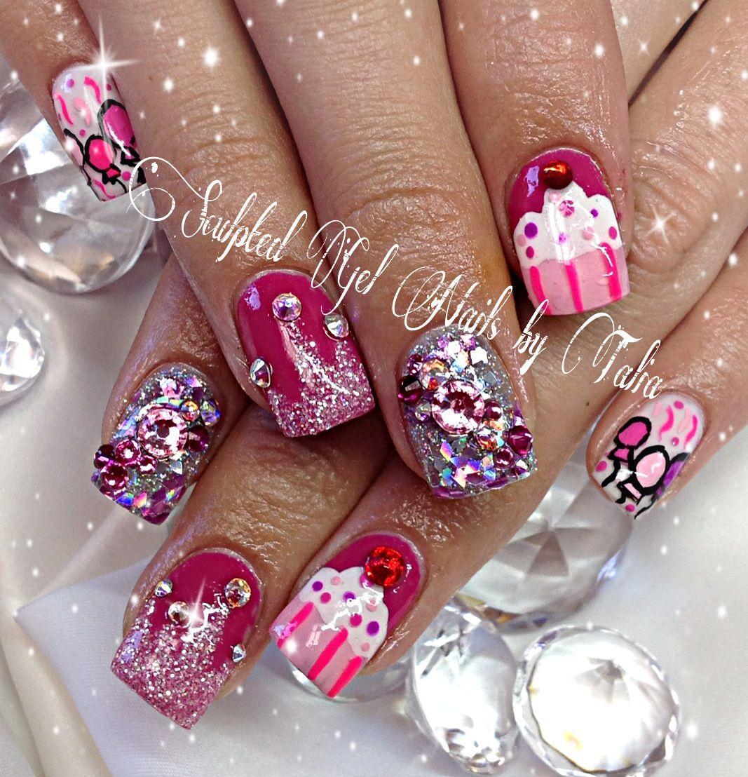 pink birthday nail art