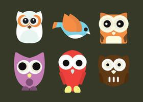 Set of a cute Owl Cartoon Vector Characters - free to download.