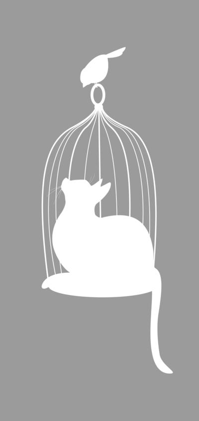 Silhouette De Chat En Cage Avec Un Oiseau Dehors Croquis