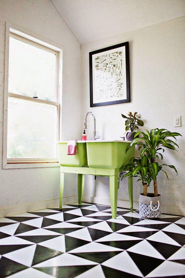 Green Sink Patterned Floor Ideen Bodenbelag Bodenfliesen Bad Traditionelle Bader