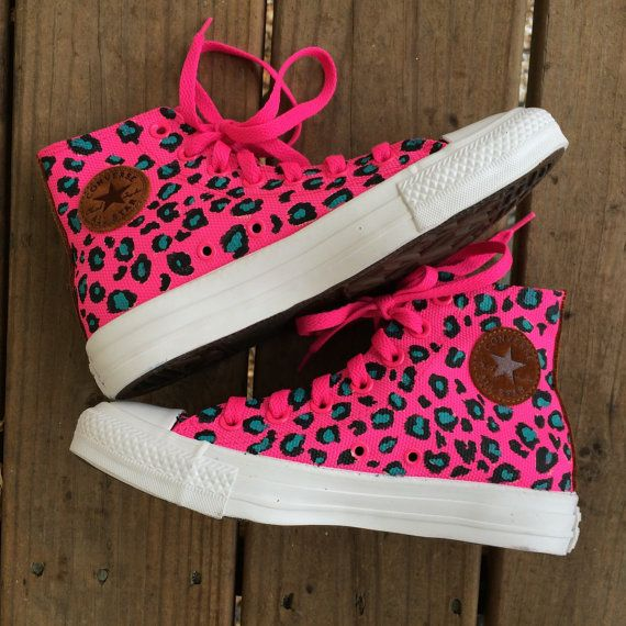 84d6fac8b8469 Wild Hot Pink Leopard Print Converse Custom Hand Painted Shoes | My ...