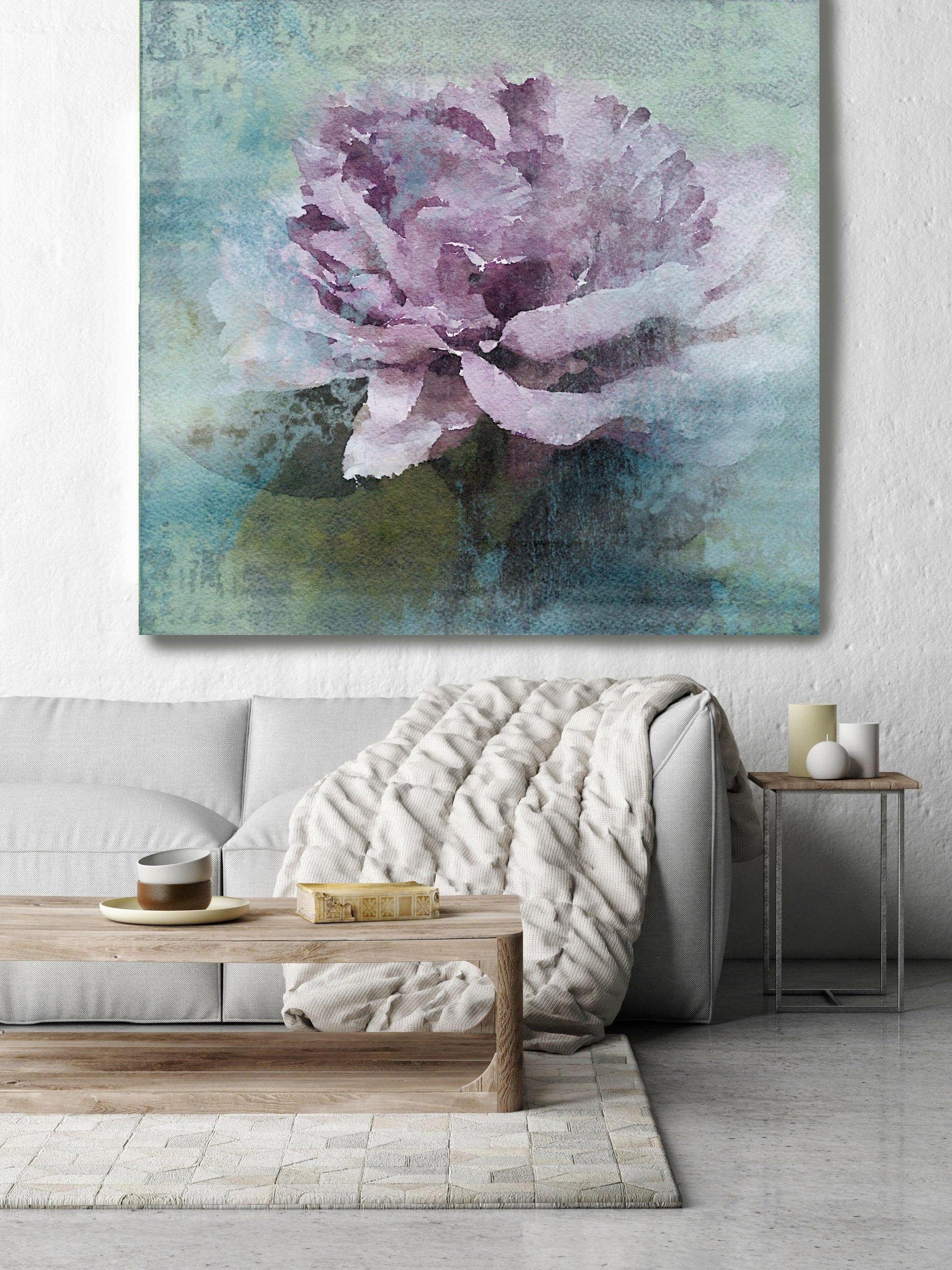 Purple Majesty Rustic Floral Painting Green Turquoise Pink Etsy Floral Painting Oversized Canvas Art Painting