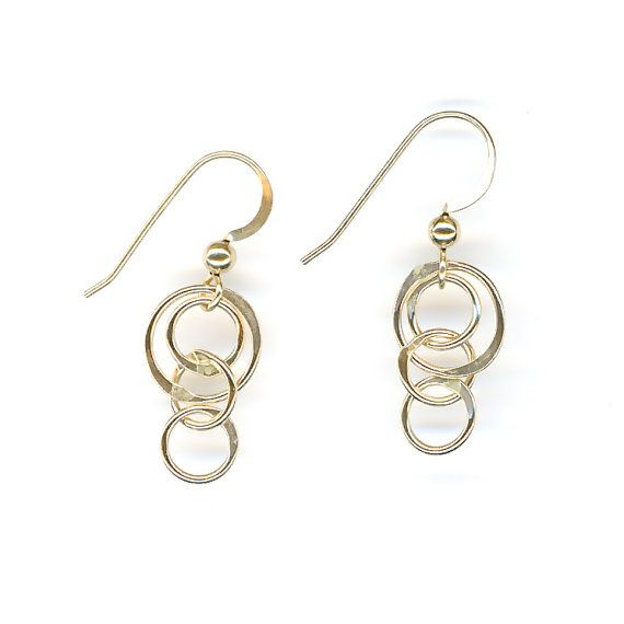 Gold Dangle Earrings Chain Link Hammered Circles by WvWorks, $19.95