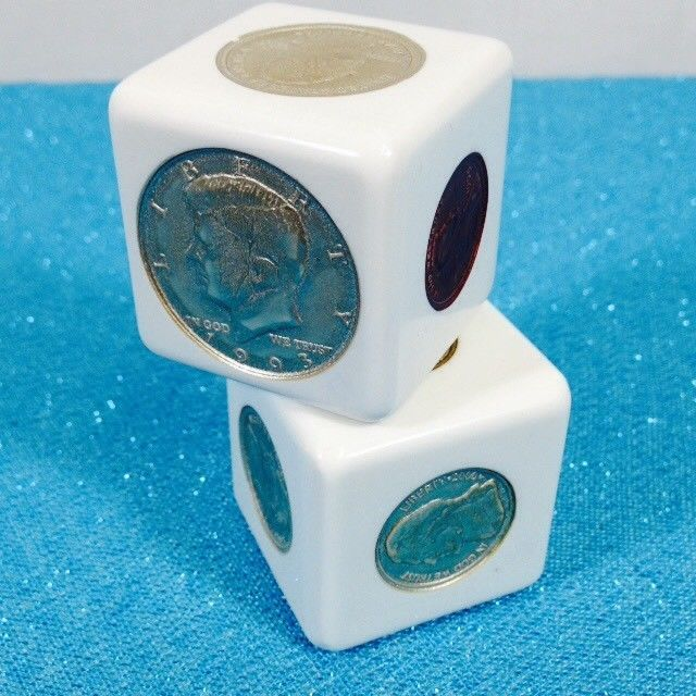 kennedy office supplies. Coin Cube Set Dice Change US Coins Paperweight Sacagawea Kennedy Quarter White Office Supplies