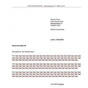 Briefvorlage Schweiz Din Norm Muster Und Vorlagen