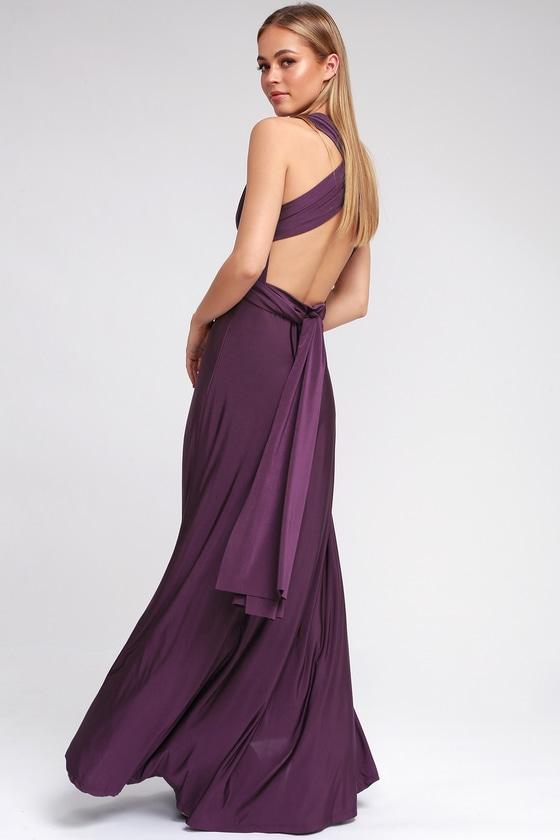 Always Stunning Convertible Purple Maxi Dress In 2020 Grey Maxi Dress Maxi Dress Purple Maxi Dress