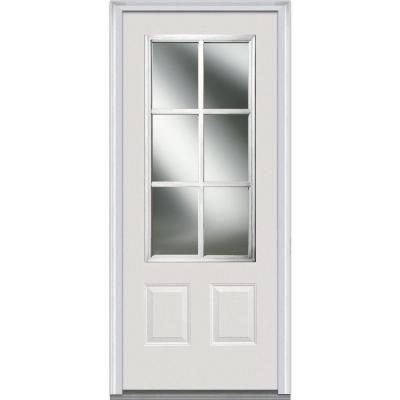 Milliken Millwork 36 In X 80 In Simulated Divided Lite Clear Glass 3 4 Lite 2 Panel Primed White Fiber Steel Front Door Steel Doors Exterior Glass Front Door