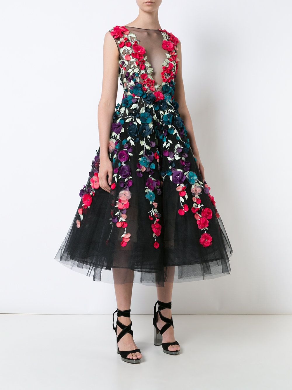 Marchesa - Floral Embroidered Mid-length Gown
