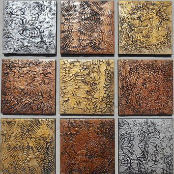 Large wood block art textured abstract paintings by pattyevansart