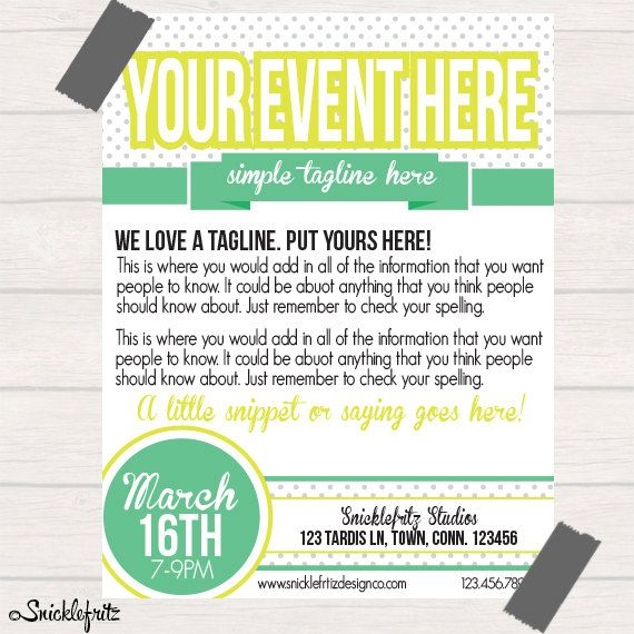 simple lime green event flyer