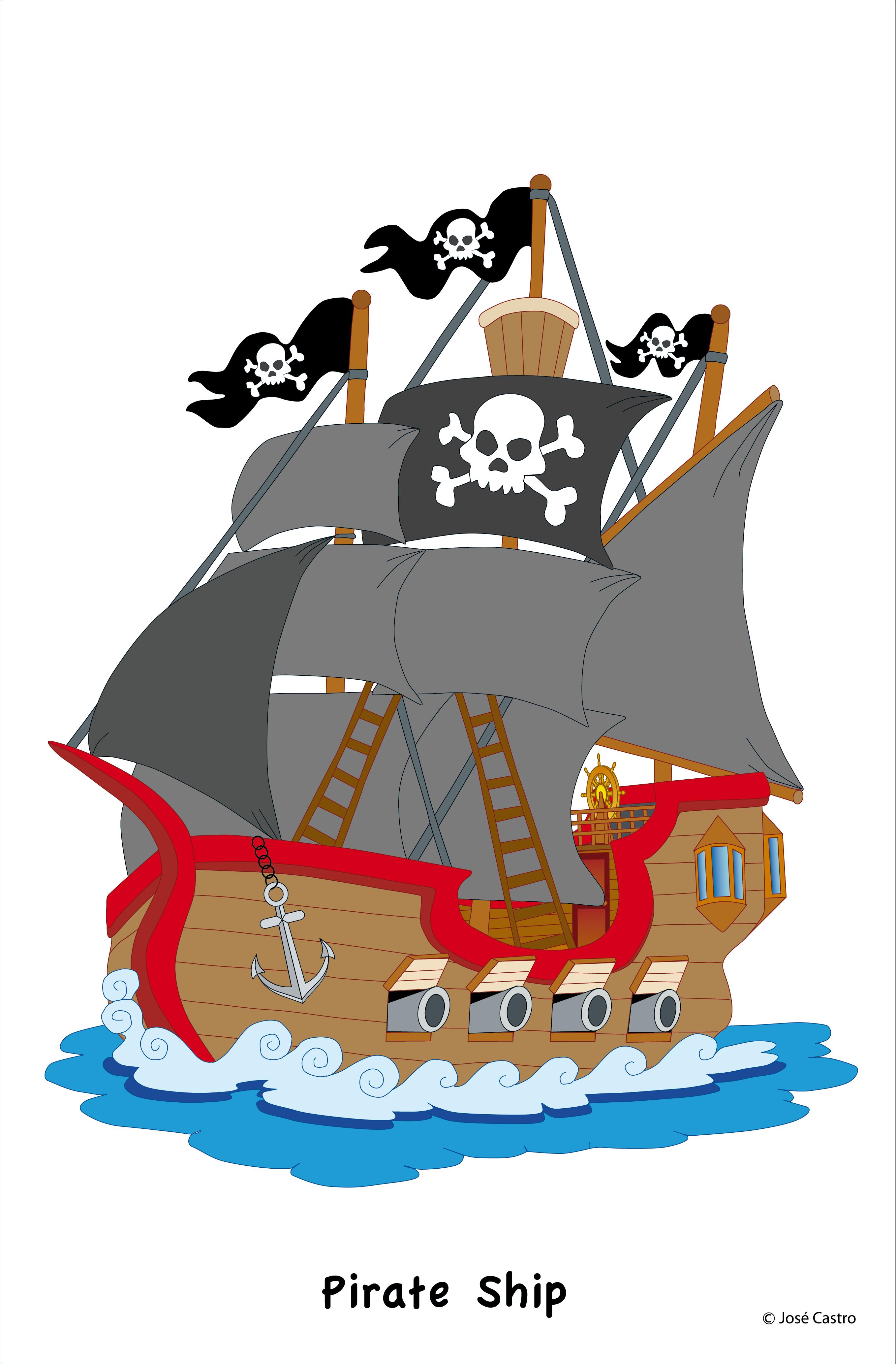 Котик, картинка пираты на корабле для детей