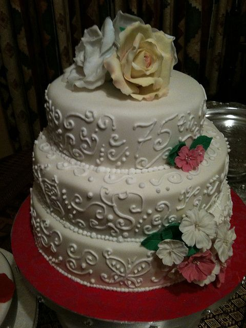 75th Birthday cake for lady who loves gardens and flowers by Lisa