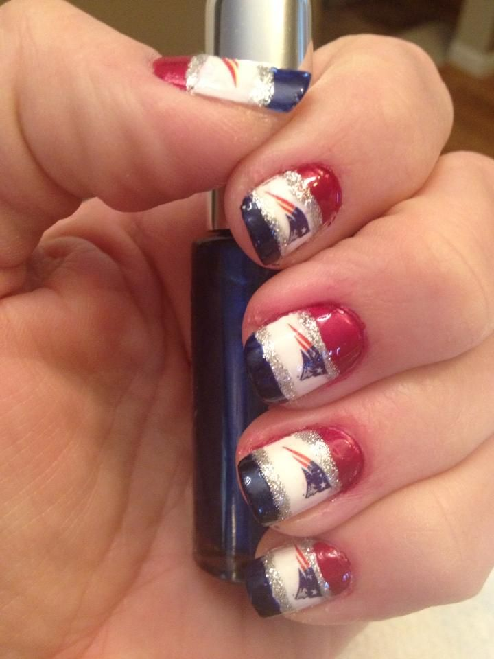 My Patriot nails.. painted them today for the Playoff game.. Going ...