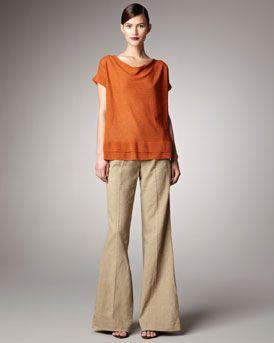 Donna Karan Paper Cowl-Neck Top & Wide-Leg Pants