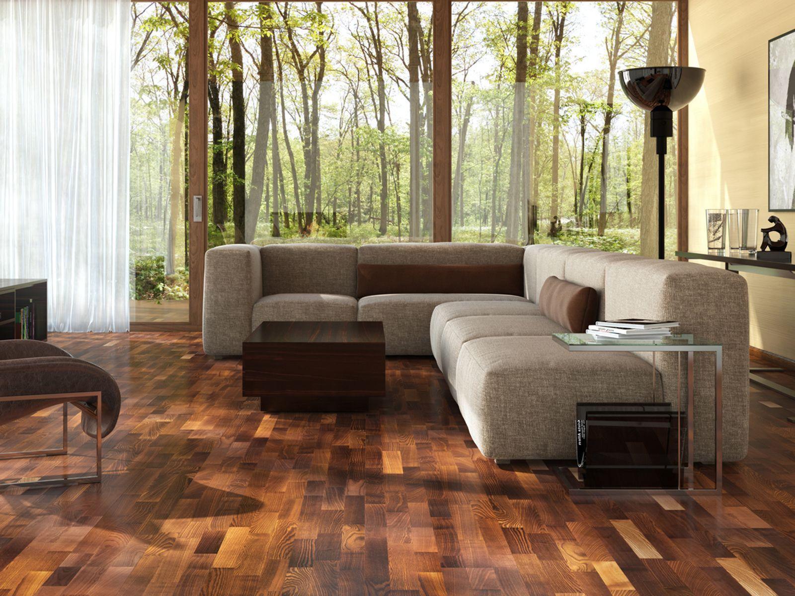 Idee per arredare il salotto con il parquet scuro in legno
