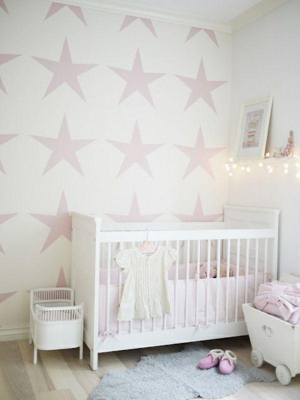 Malerschablone Sterne Für Wandgestaltung Im Babyzimmer   62 Kreative Wände  Streichen Ideen U2013 Interessante Techniken