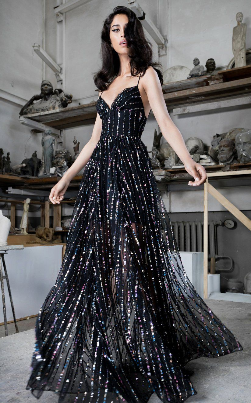 Sequined Tulle Maxi Gown by Rasario