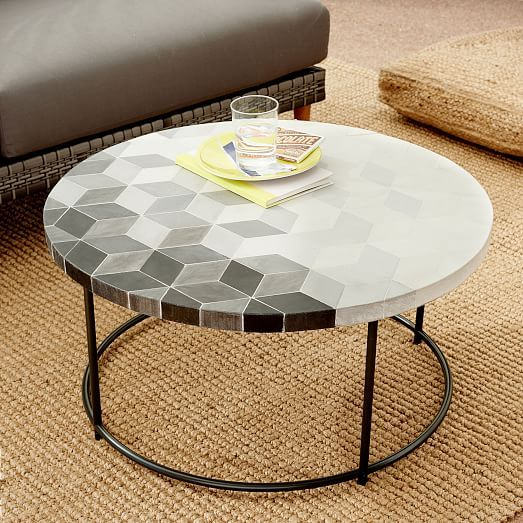 Mosaic Tiled Outdoor Coffee Table Isometric Concrete Tiled