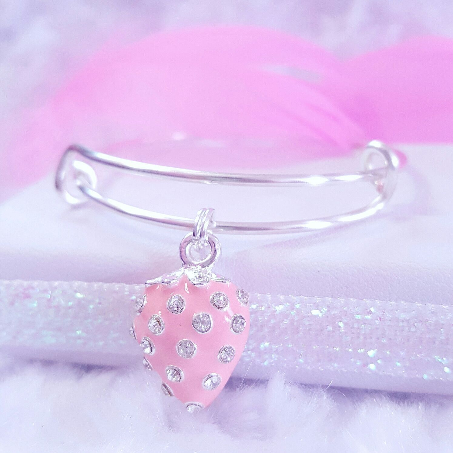 Strawberry Charm Bangle Bracelets