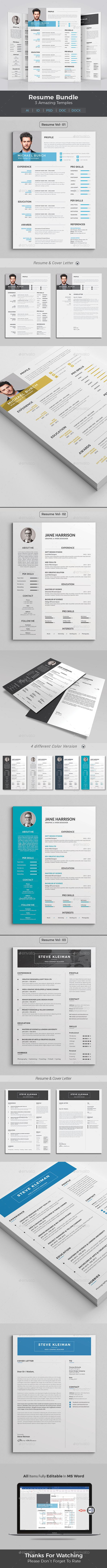 Resume Word #Bundle - Resumes Stationery | Resume template ...