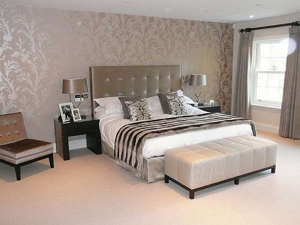 luxury master bedroom decorating ideas with floral wallpaper gold color theme - Floral Wallpaper Bedroom Ideas