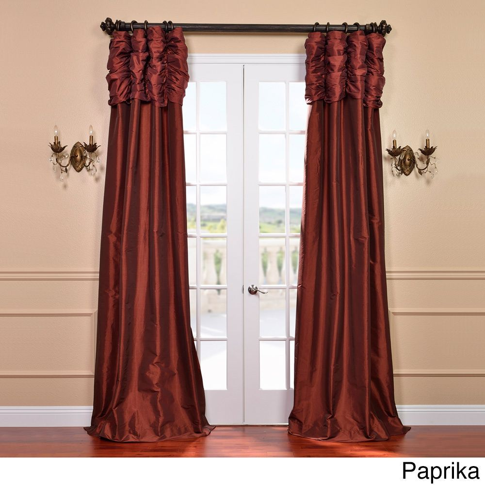 Exclusive Fabrics Ruched Header Solid Color Faux Silk Taffeta 120 Inch Curtain  Panel (Paprika