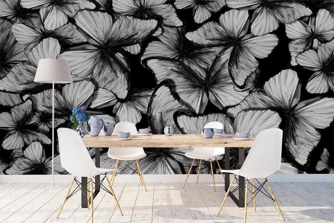 Removable Peel And Stick Wallpaper Black And White Etsy Peel And Stick Wallpaper Mural Wallpaper Removable Wallpaper