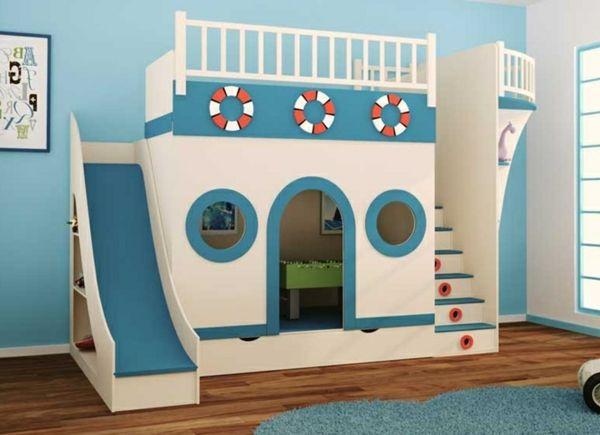 Etagenbetten Mit Rutsche : Spielbett mit rutsche blau und weiß wie ein schiff aussehen