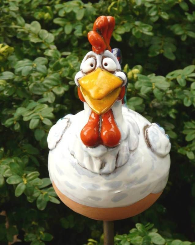 Gartenstecker Gartenkugel Beetstecker Huhn Frostfeste Keramik Gartendeko