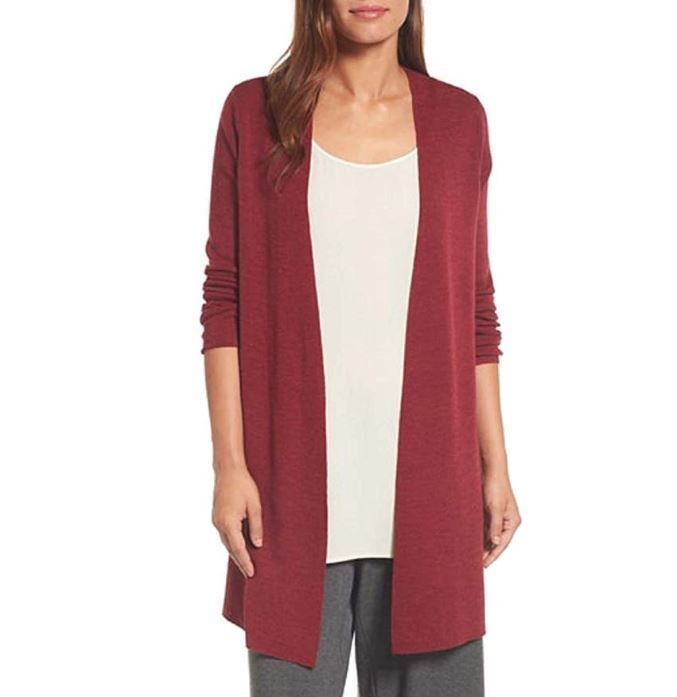 5636c0ae71e  298 Eileen Fisher Hibiscus Ultra Fine Merino Wool Rib Long Cardigan Size L