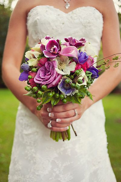 colorful garden bridal bouquet ~ Drew + Lauren - BrookeCourtney
