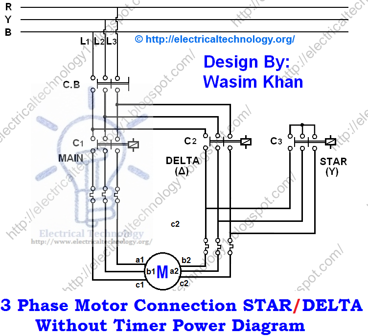 3 Phase Star Delta Motor Wiring Diagram 1990 Honda Accord Lx Stereo Three Connection Without Timer Power Diagrams