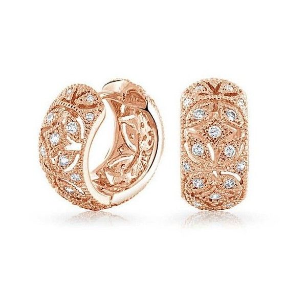 Bling Jewelry Vintage Rose Gold Plated CZ Victorian Flower Huggie... ($27) ❤ liked on Polyvore featuring jewelry, earrings, clear, hinged earrings, zirconia earrings, vintage jewelry, rose gold plated earrings and vintage flower earrings