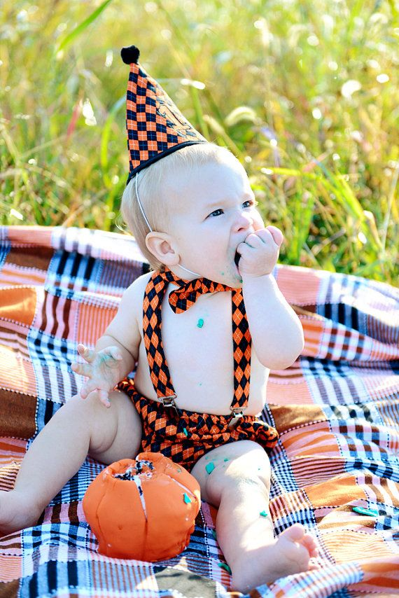 Halloween First Birthday Outfit For Boys Cake Smash Orange And Black Party Hat Bow Tie Diaper Cover Suspenders
