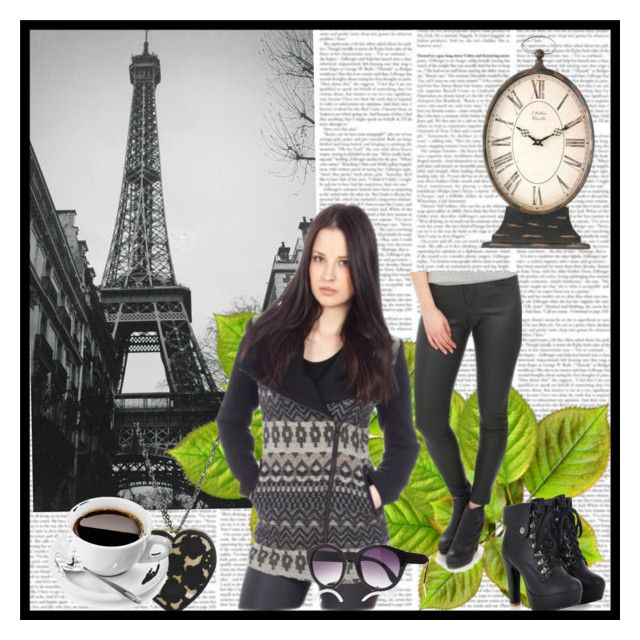 """""""Waiting for Coffee in Paris"""" by stylegirl-ca ❤ liked on Polyvore featuring Zentique, Express, black, geometric, fallfashion, fallstyle and fall2014"""